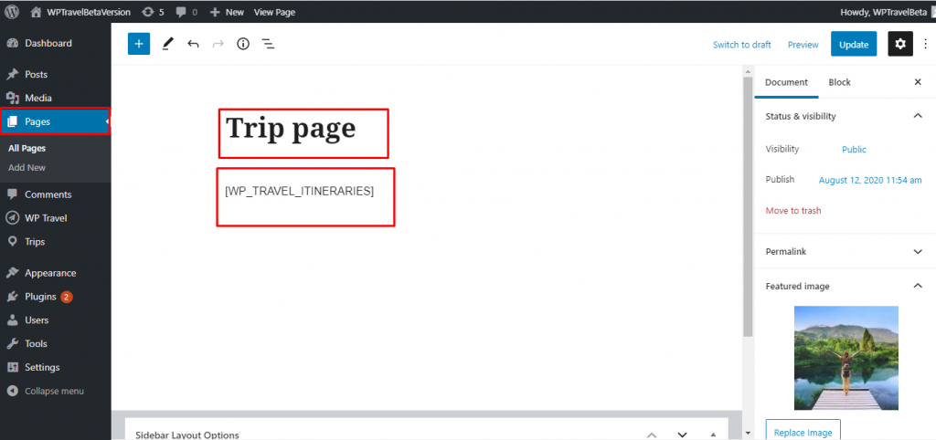 display trips in the page or post using shortcode