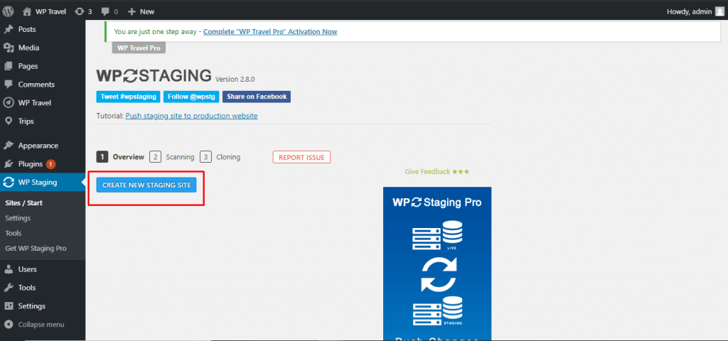 staging site for wordpress