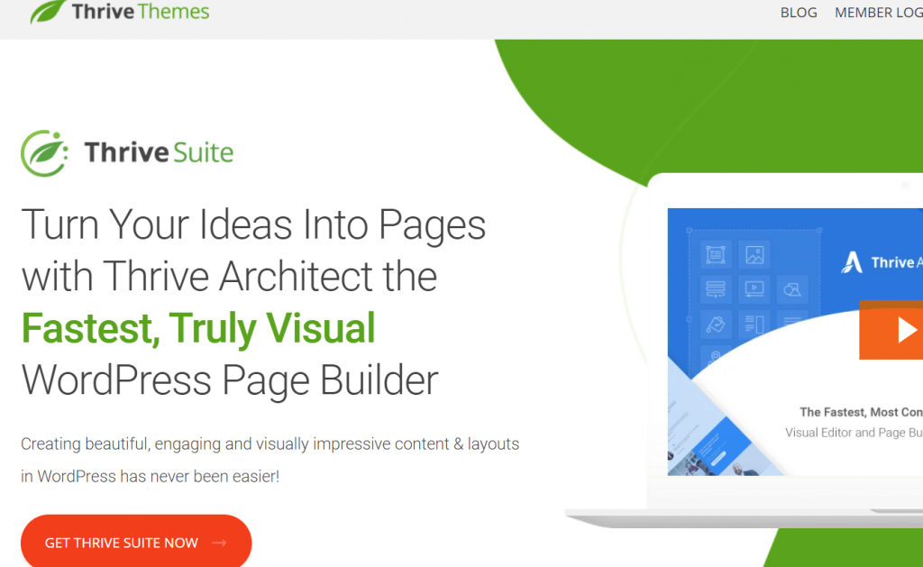 landing page in WordPress